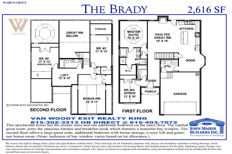 Brady floor plan in Spring Hill Tn and Thompson Station Tn