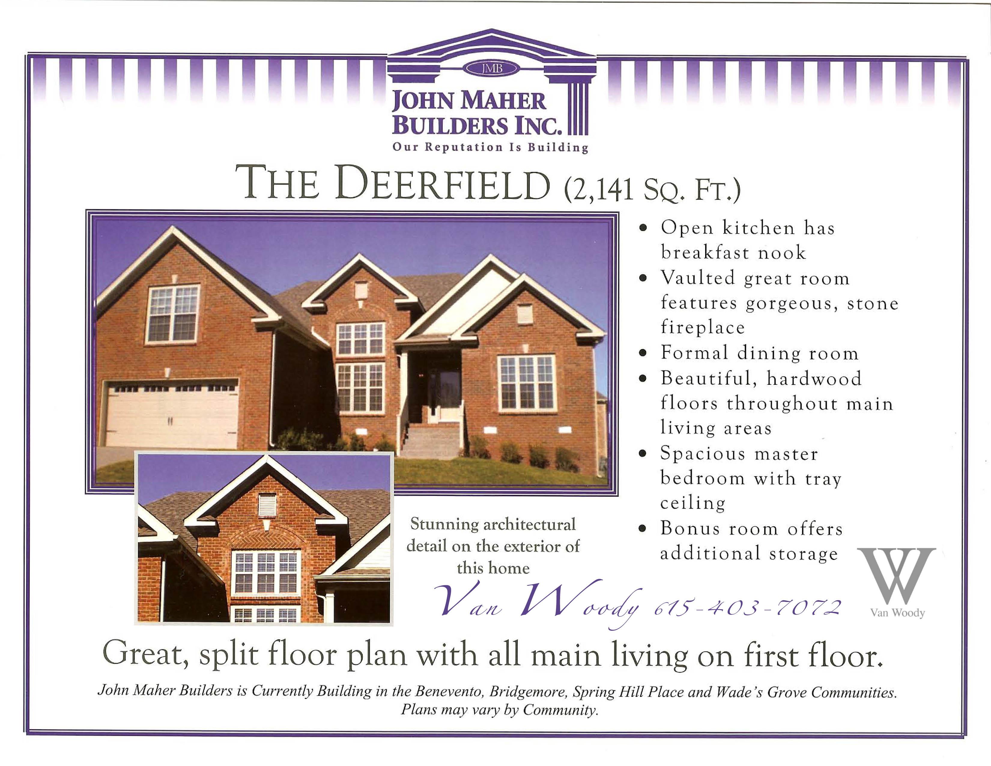 The Deerfield Plan in Wades Grove Van Woody top producing Realtor in Williamson County Tn