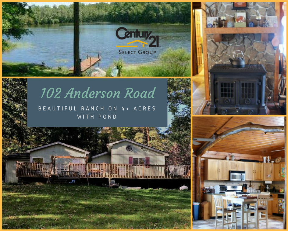 102 Anderson Road: Beautiful Ranch on 4+ Acres with Pond