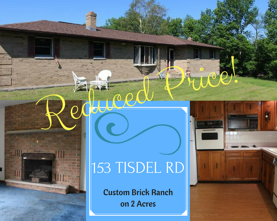 Reduced Price! 153 Tisdel Road: Custom Brick Ranch on 2 Acres