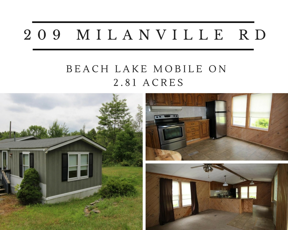 209 Milanville Road: Beach Lake Mobile on 2.81 Acres