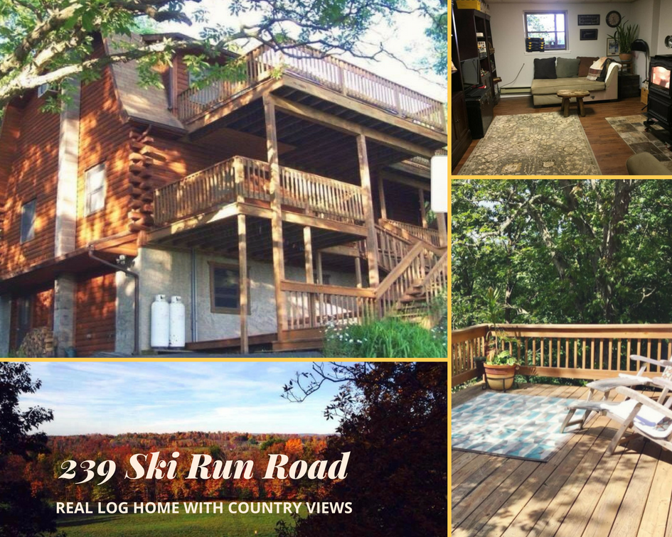 239 Ski Run Road, Honesdale PA: Real Log Home with Country Views