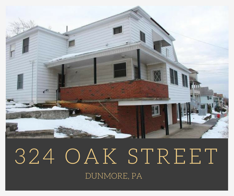 Dunmore Police Home: 324 Oak Street, Dunmore PA: Two Unit Multi Family