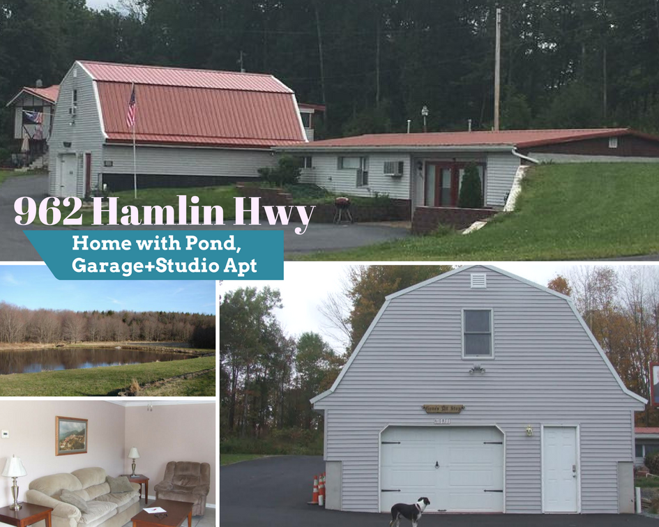 962 Hamlin Hwy: Home with Pond, Garage+Studio Apt