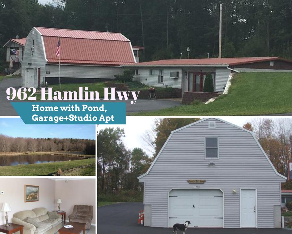 962 Hamlin Hwy: Home with Pond, Garage + Studio Apt