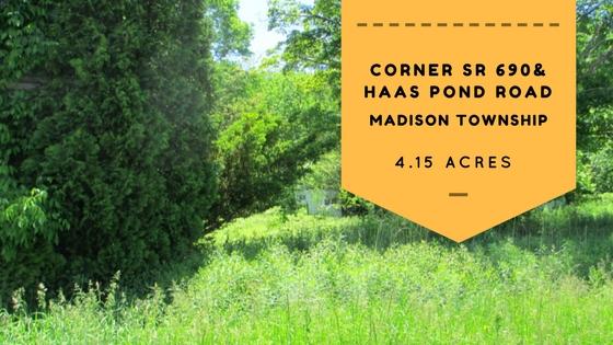 Corner SR 690 & Haas Pond Road: 4+ Acre Corner Lot in Madison Township