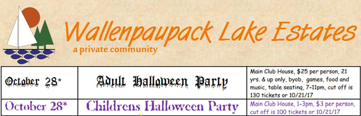 Wallenpaupack Lake Estates Halloween Parties