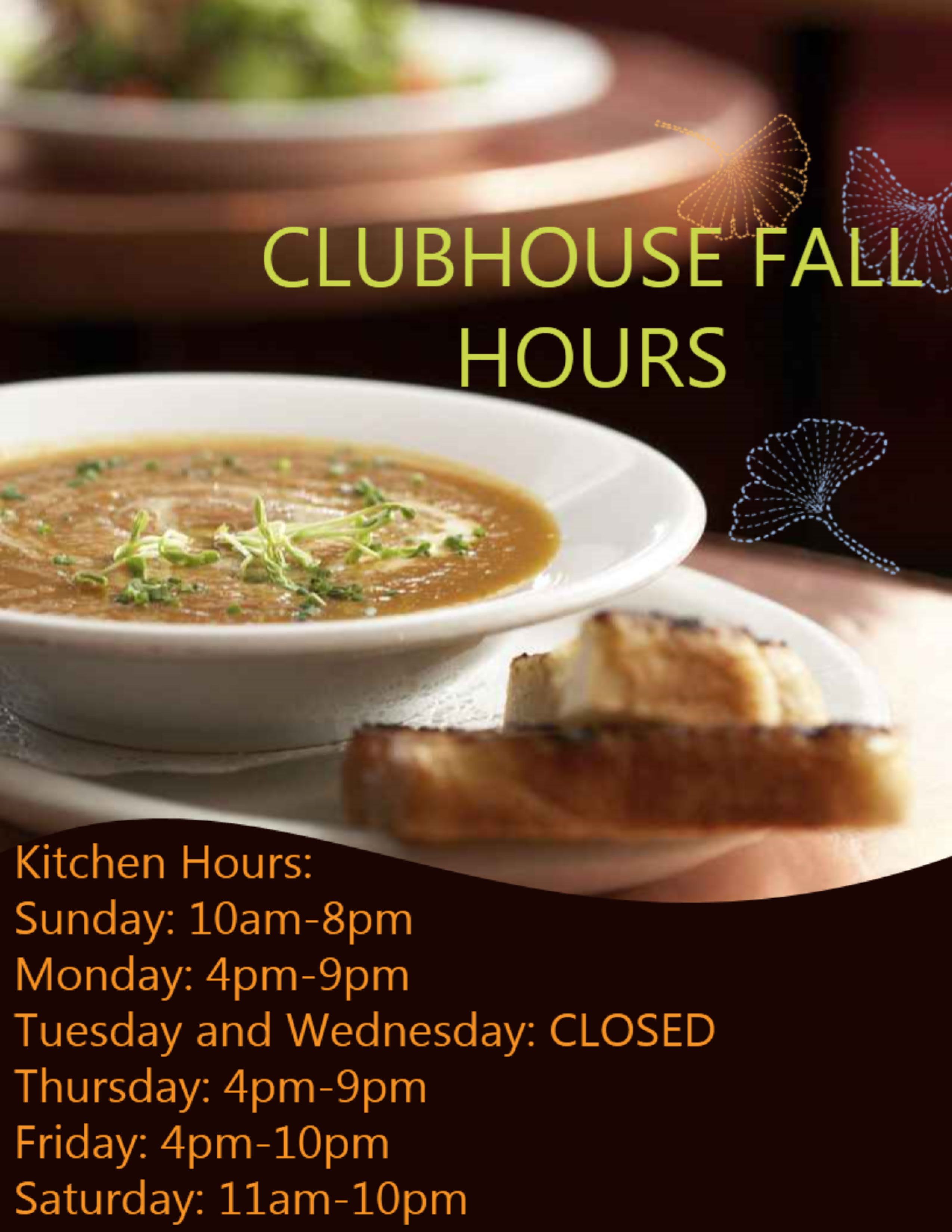 Hideout Clubhouse Fall Hours
