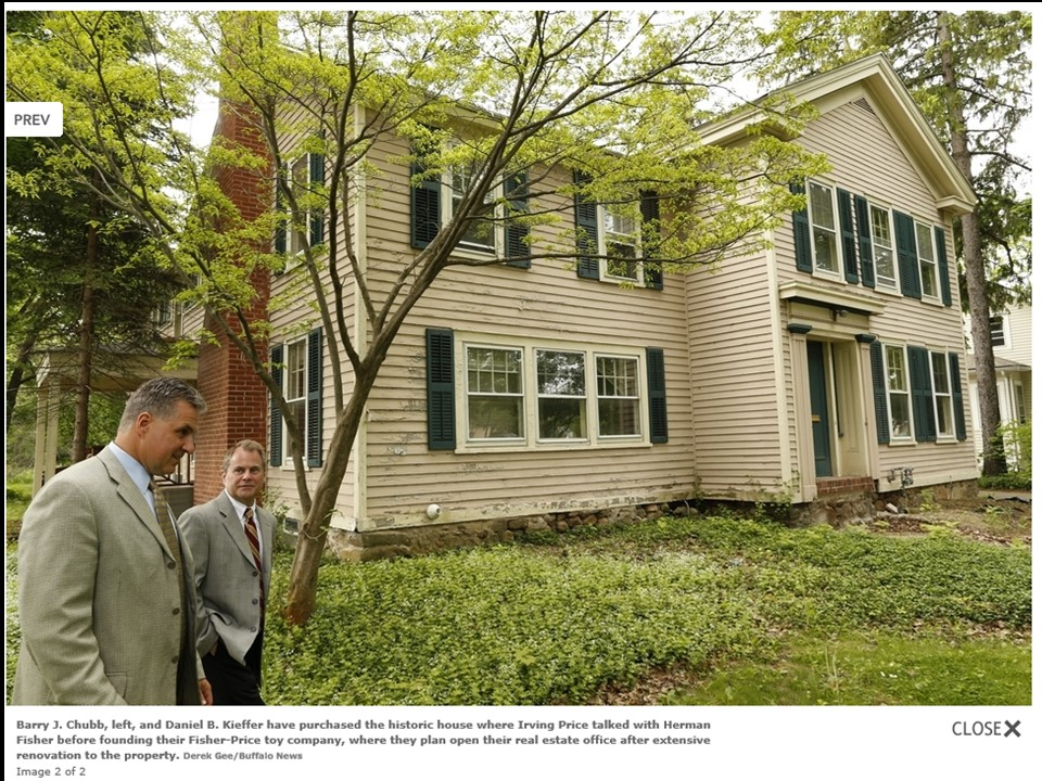 Daniel Keiffer and Barry Chubb purchase East Aurora home of toy man Irving Price
