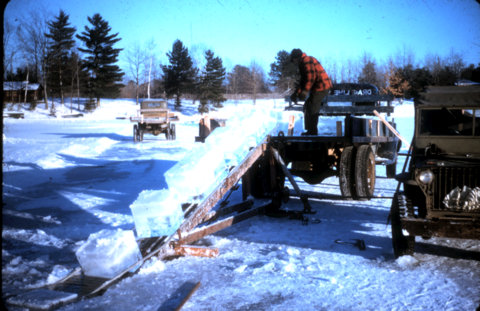 Loading and transporting ice blocks - Eliason ice business