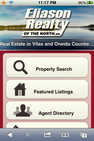 mobile optimized home page view of EliasonRealty.com