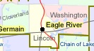 Eagle River and surrounding townships of Cloverland, Washington, and Lincoln