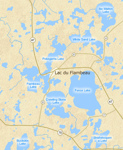 Lac Du Flambeau Chain - Map of northern wisconsin lakes