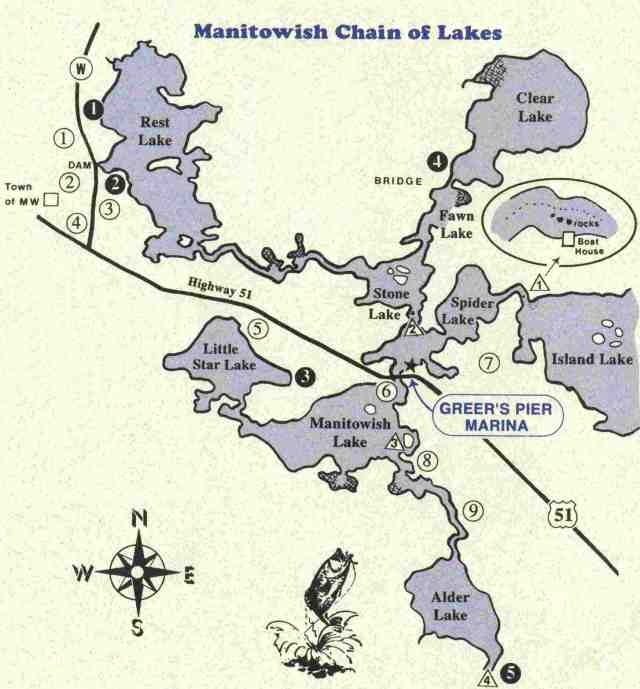 Manitowish Chain Map from Greer's Pier Marina