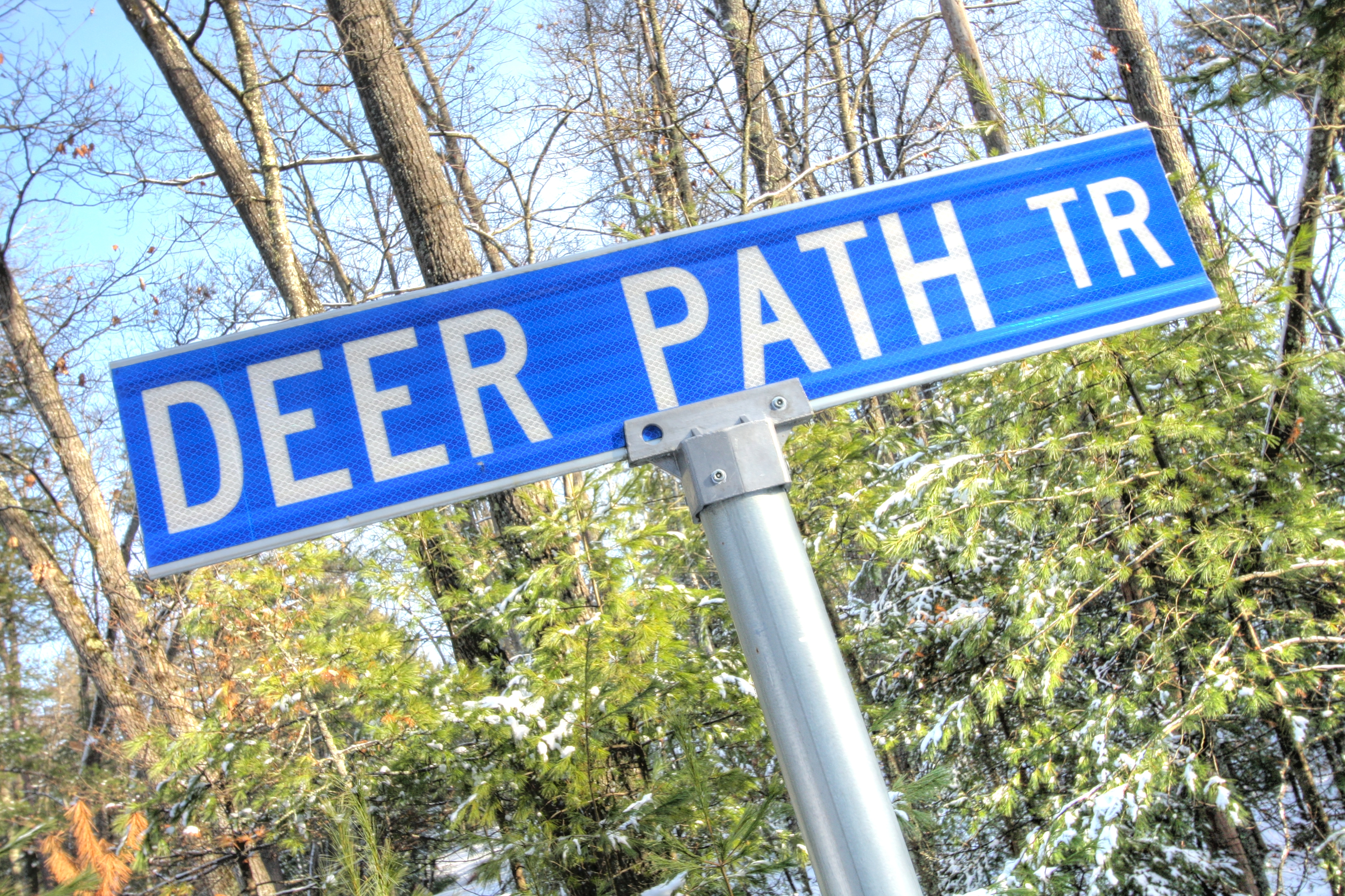 Deer Path Tr Sign at Timber Trails Subdivision