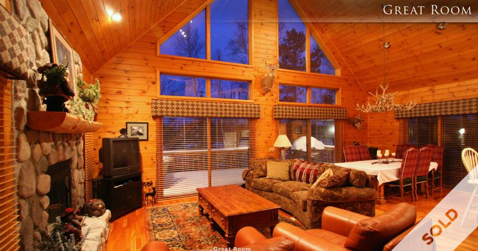 Interior Great Room of Lt St Germain Lake Chalet - sold
