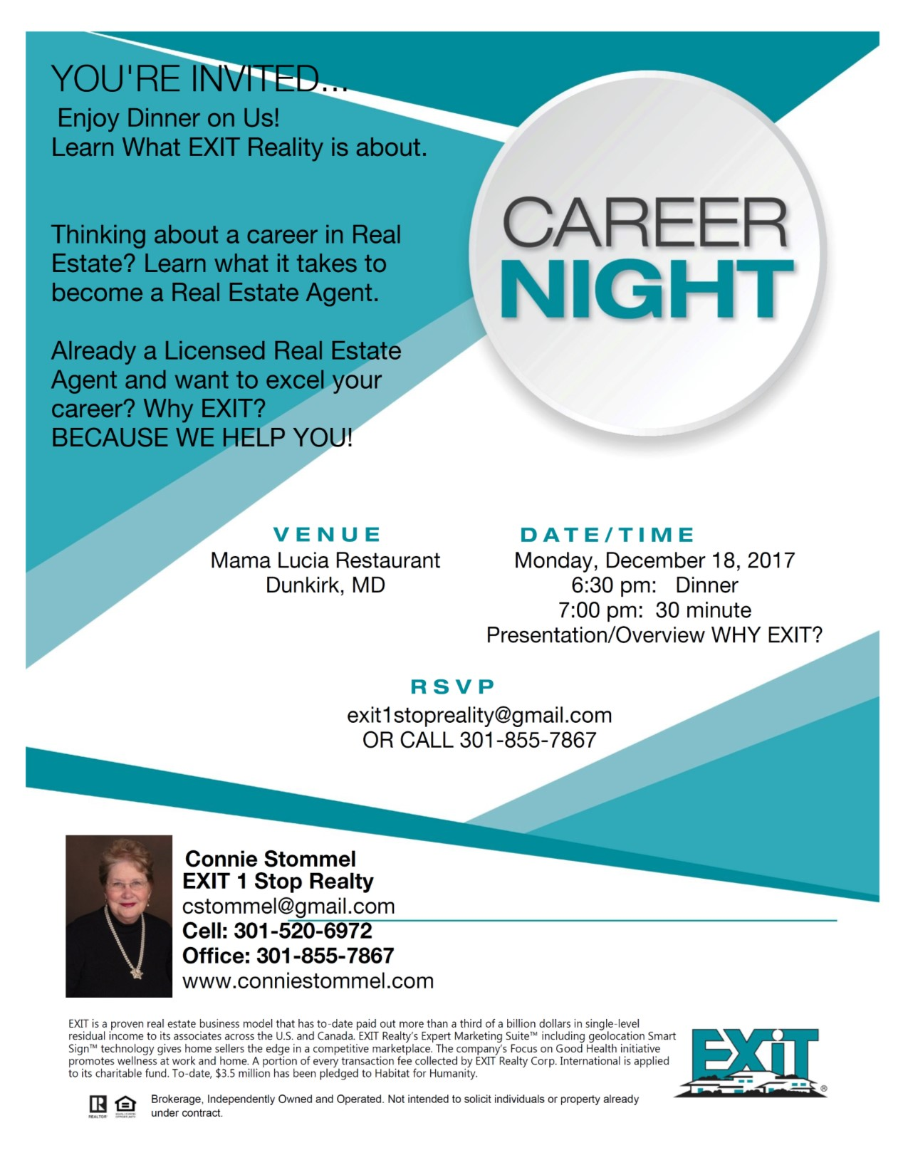 Career Night! Monday, December 18, 2017.. 6:30 pm