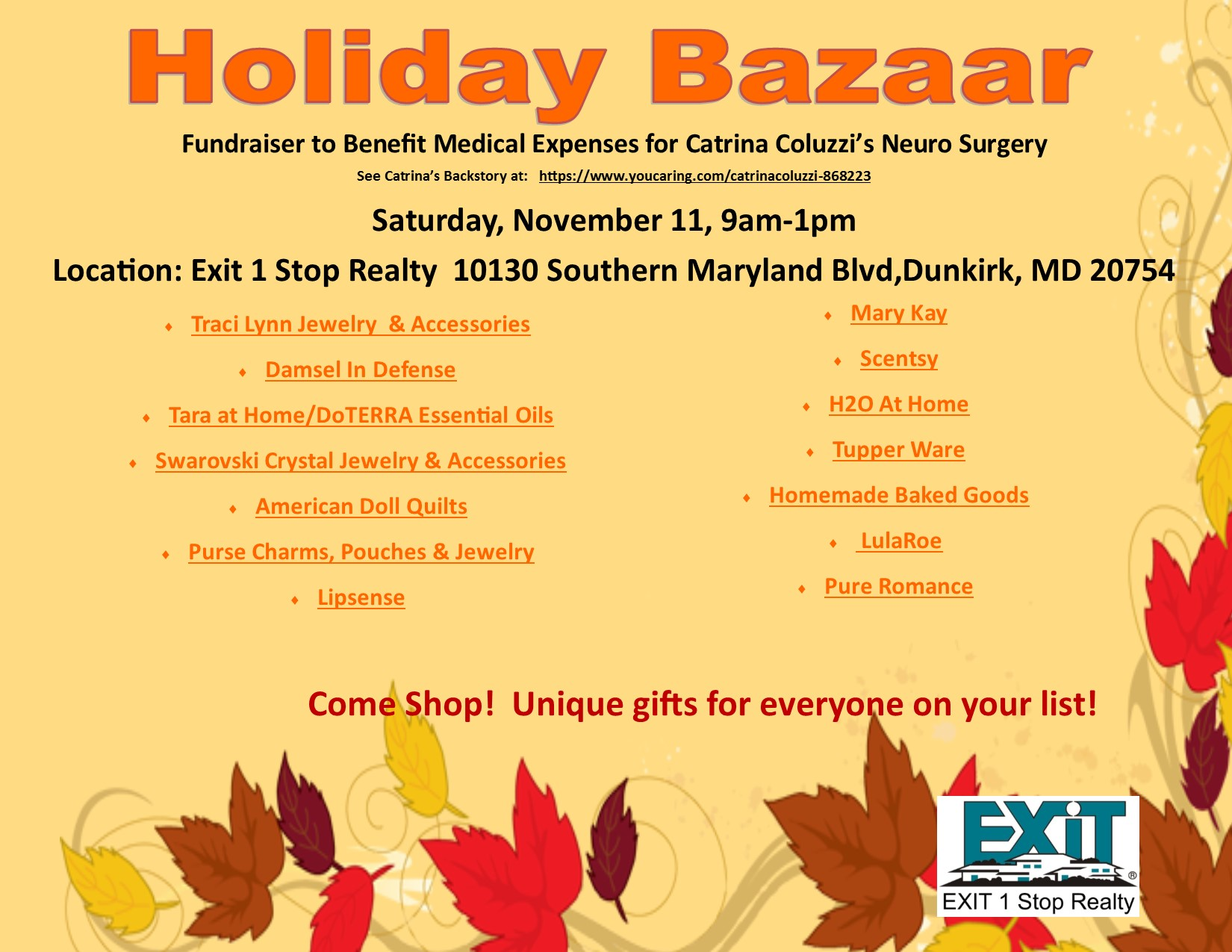 Holiday Bazaar Fundraiser- Saturday, November 11, 2017 9 am-1 pm
