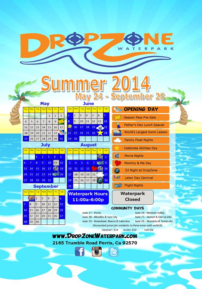 DropZone Summer Season schedule