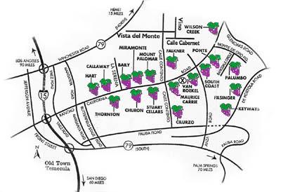 Temecula CA Winery map