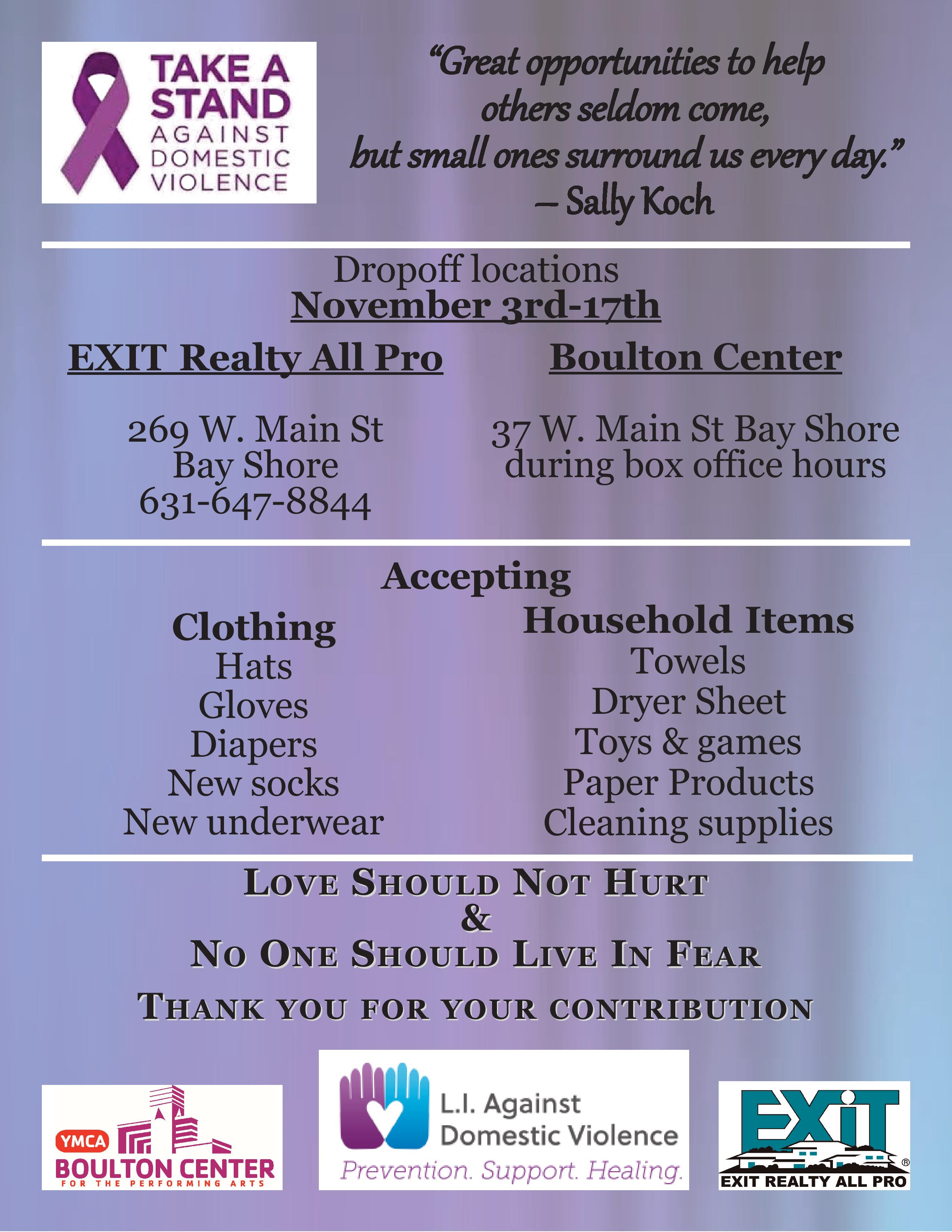Community Involvement Support Long Island Against Domestic Violence