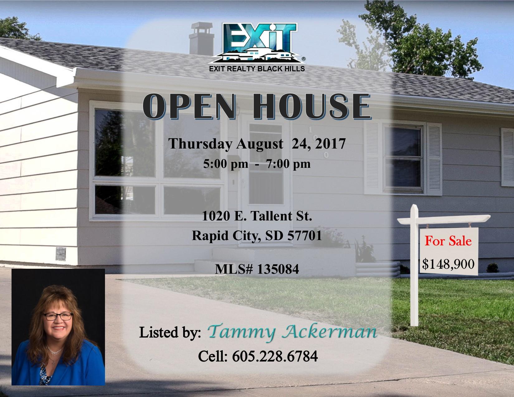 OPEN HOUSE for Thursday August 24, 2017