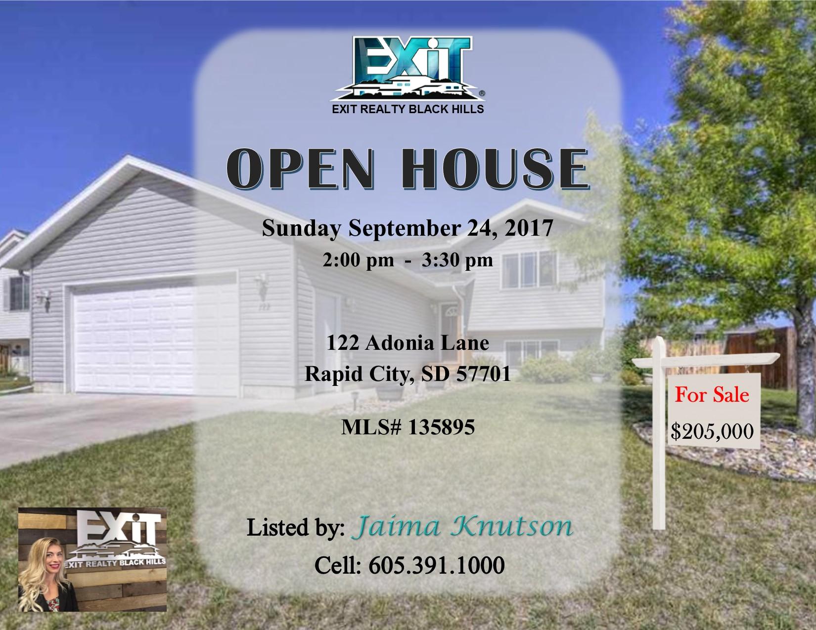 Open House for Sunday September 24, 2017
