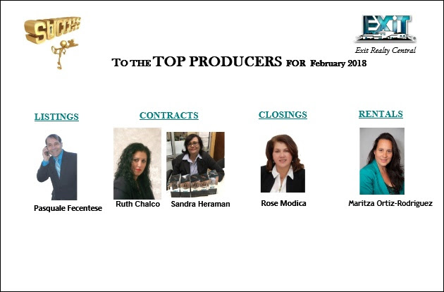 Congratulations to the Top Producers of February 2018!