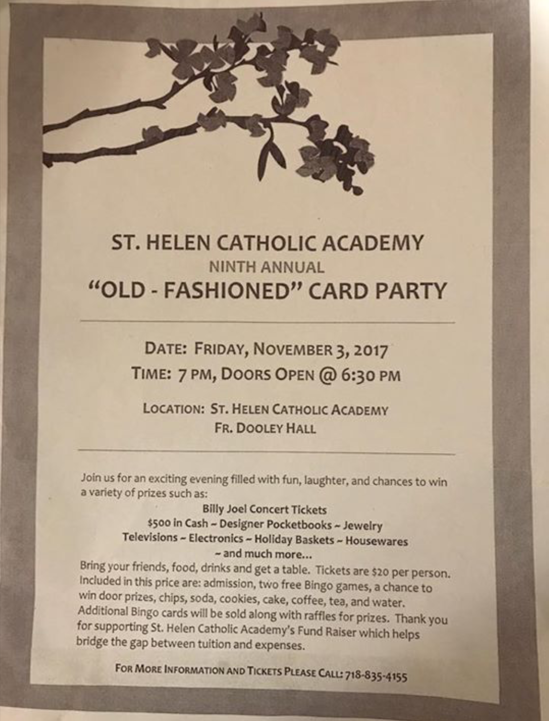 "St. Helen Catholic Academy ""Old Fashioned"" Card Party"