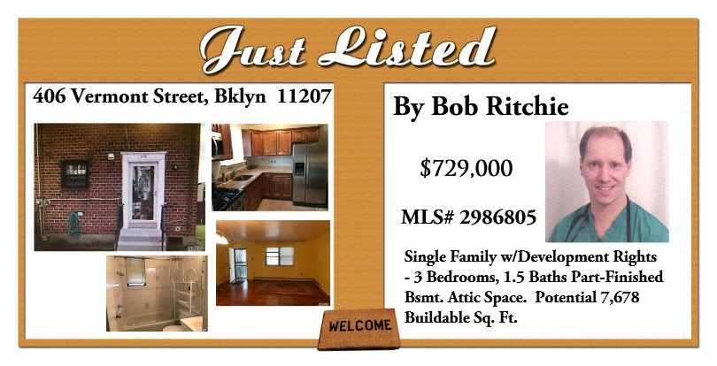 Just Listed in Brooklyn by Bob Ritchie