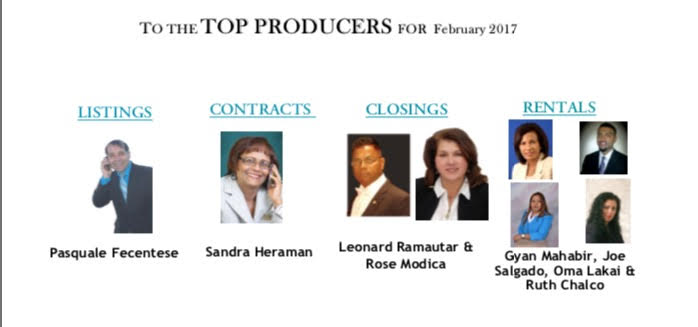 Congratulations To Our Top Producers For The Month Of Feb 2017