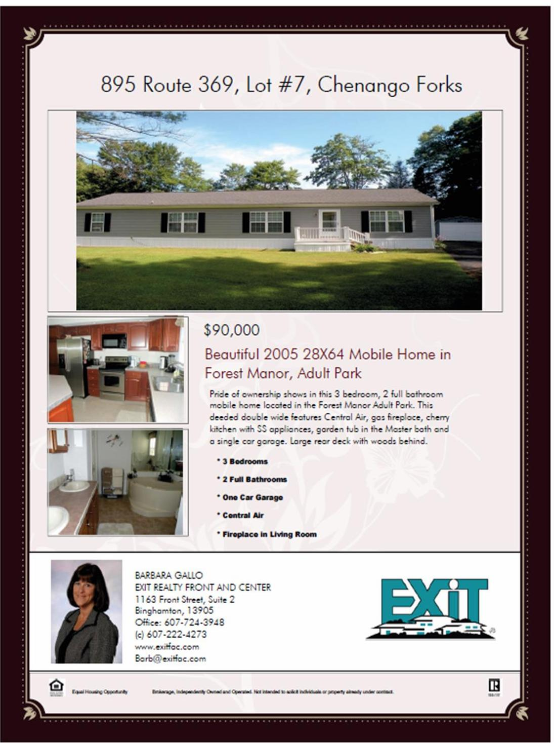 Flyer showing mobile home for sale
