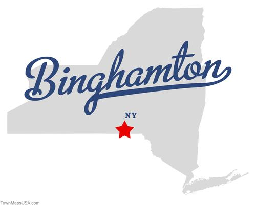Map of NY highlighing Binghamton