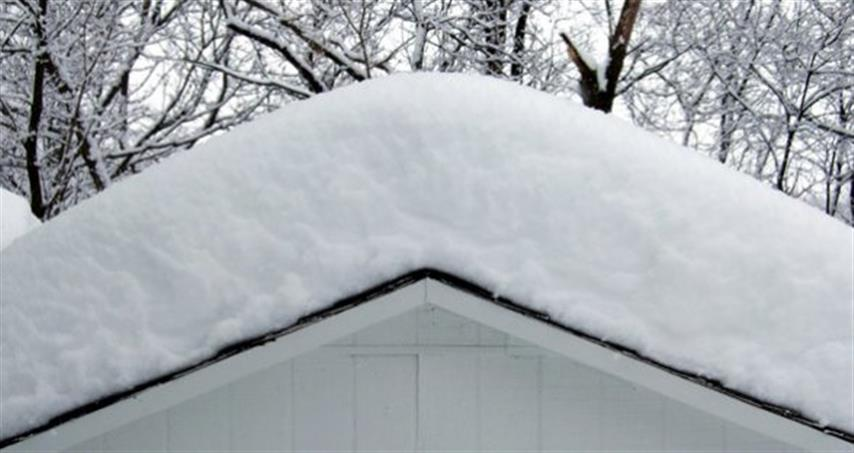 roof covered with about a foot of snow