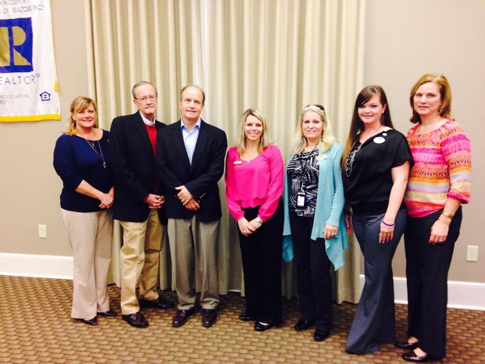 Baldwin County Women Council of Realtors officers with Gulf Shores Mayor Robert Craft and Foley Mayor John Koniar