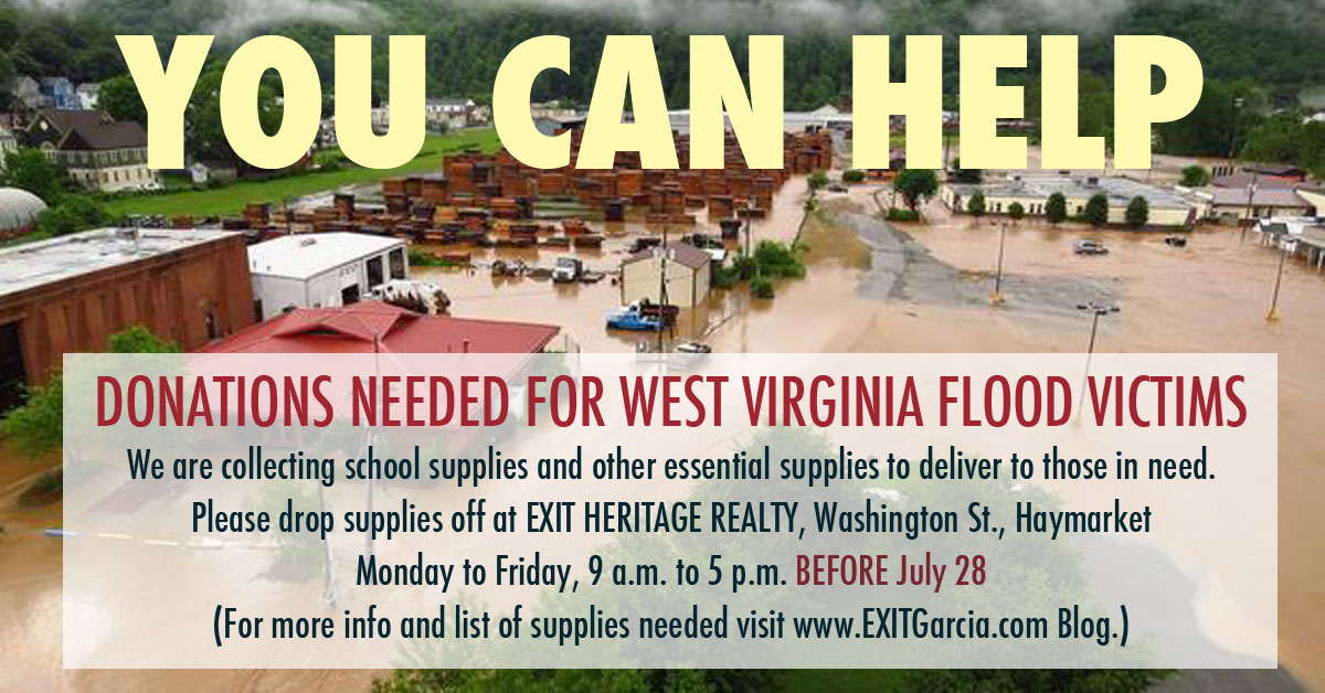 PLEASE! Donations Accepted at EXIT Heritage Realty for Flood Victims