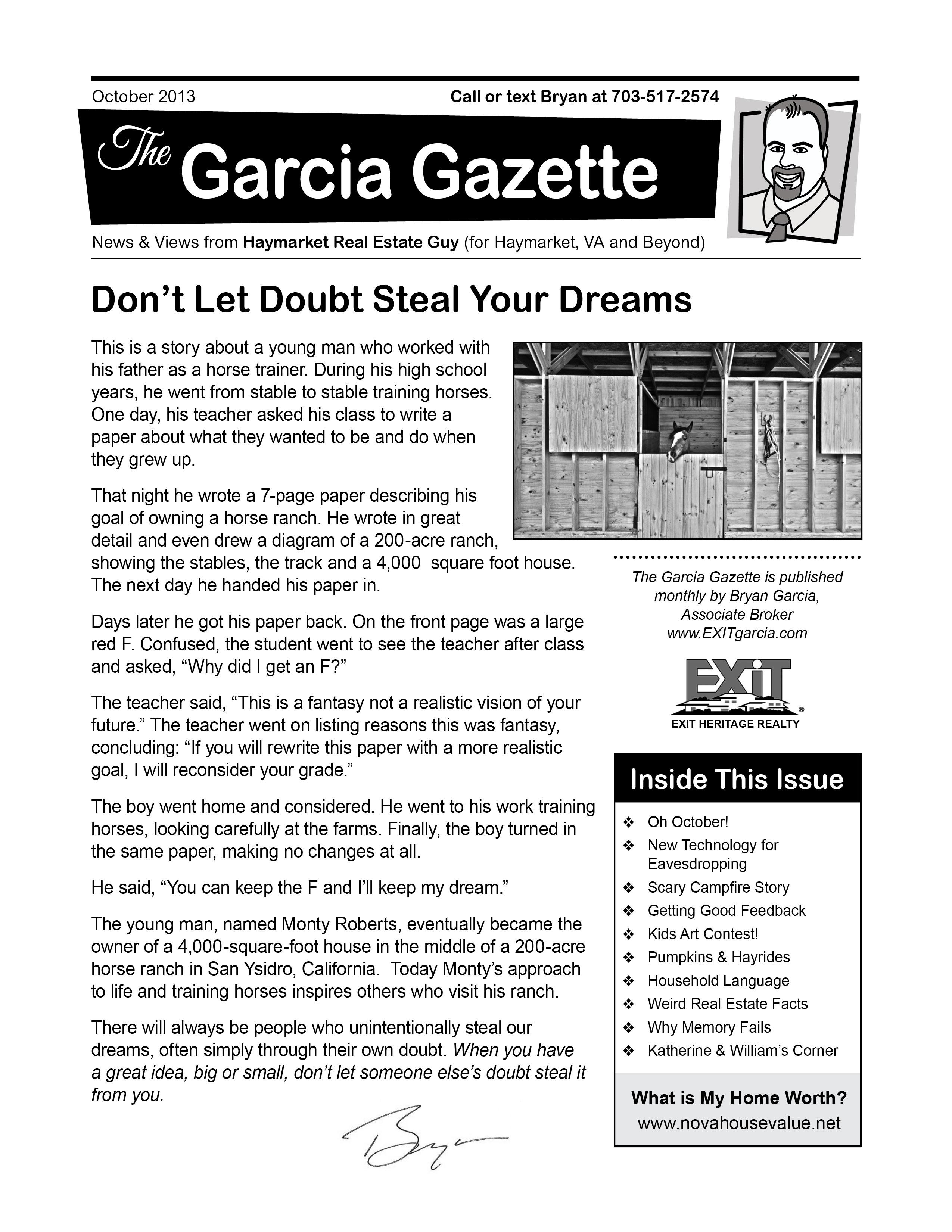 Garcia Gazette October 2013 - Haymarket VA and Beyond Real Estate News