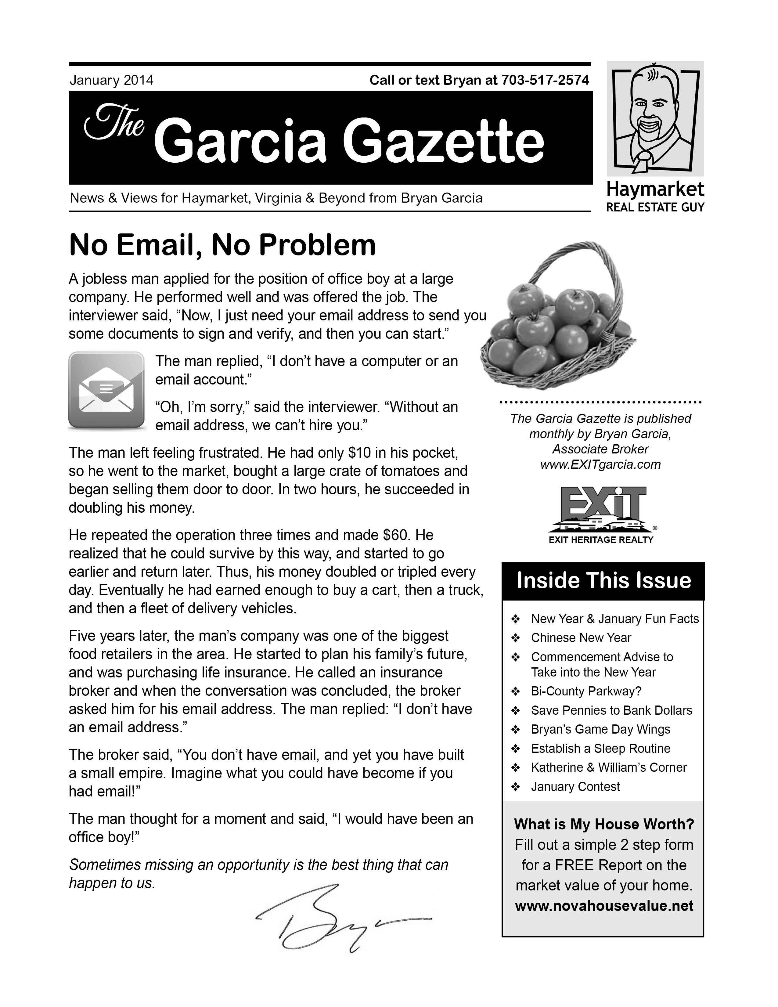 The January 2014 Issue of Garcia Gazette is Out