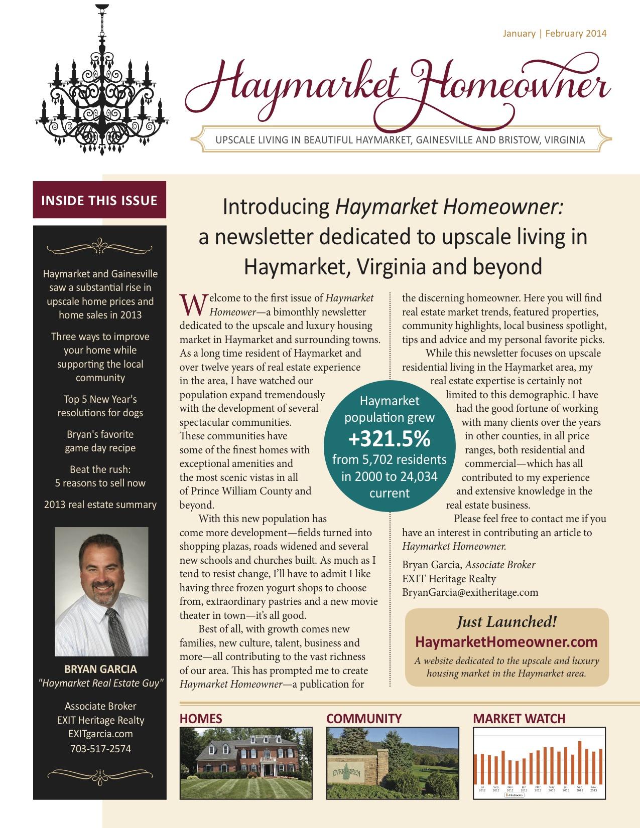 Haymarket Homeowner Launches: Luxury Living in Haymarket, Gainesville & Bristow, VA