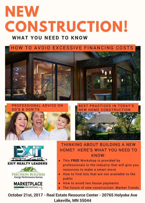 New Construction Free Event- October 21st 10AM-11AM