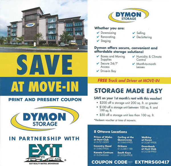 Discounts at Dymon Storage Ottawa