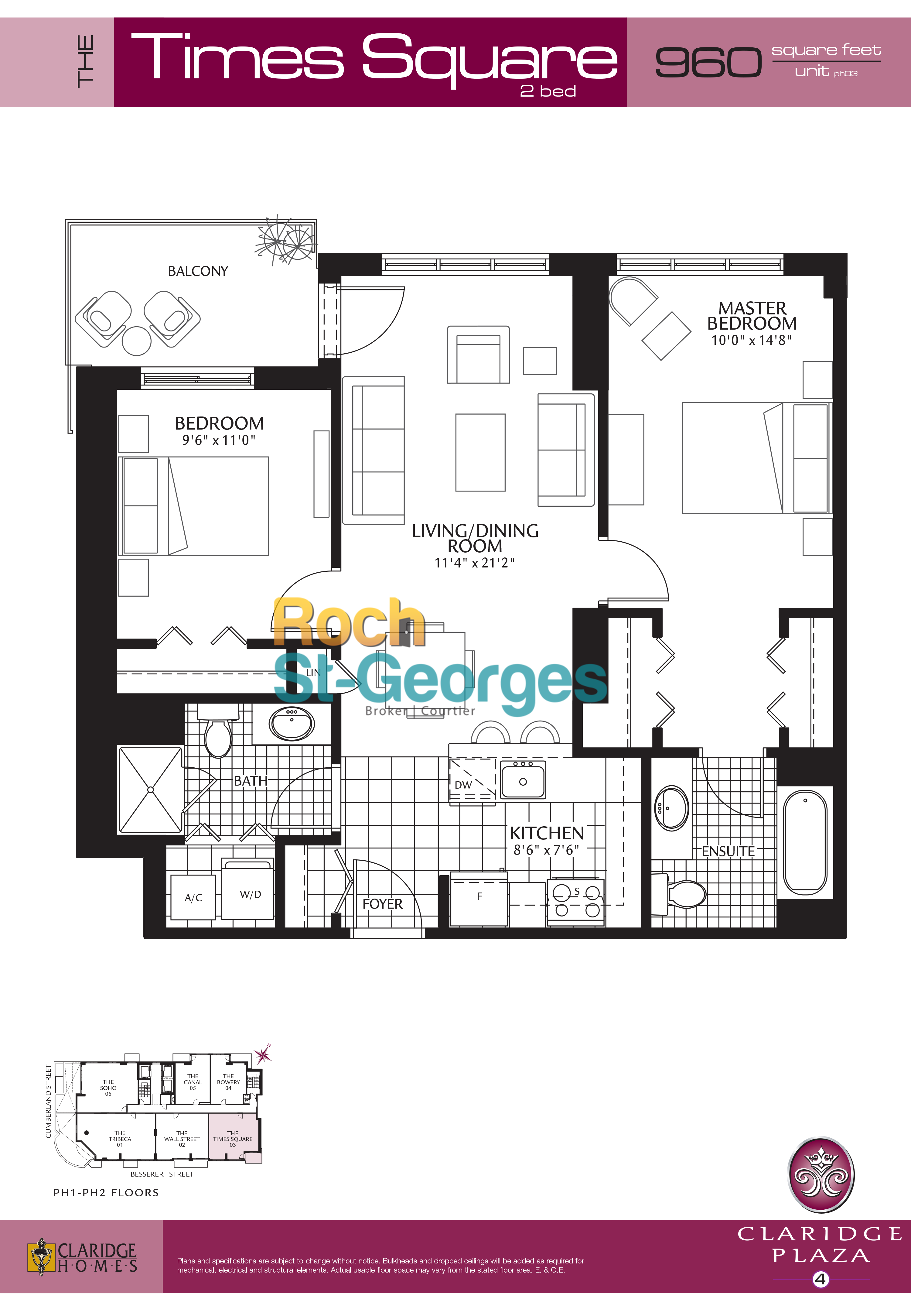 timesquare floorplan claridge