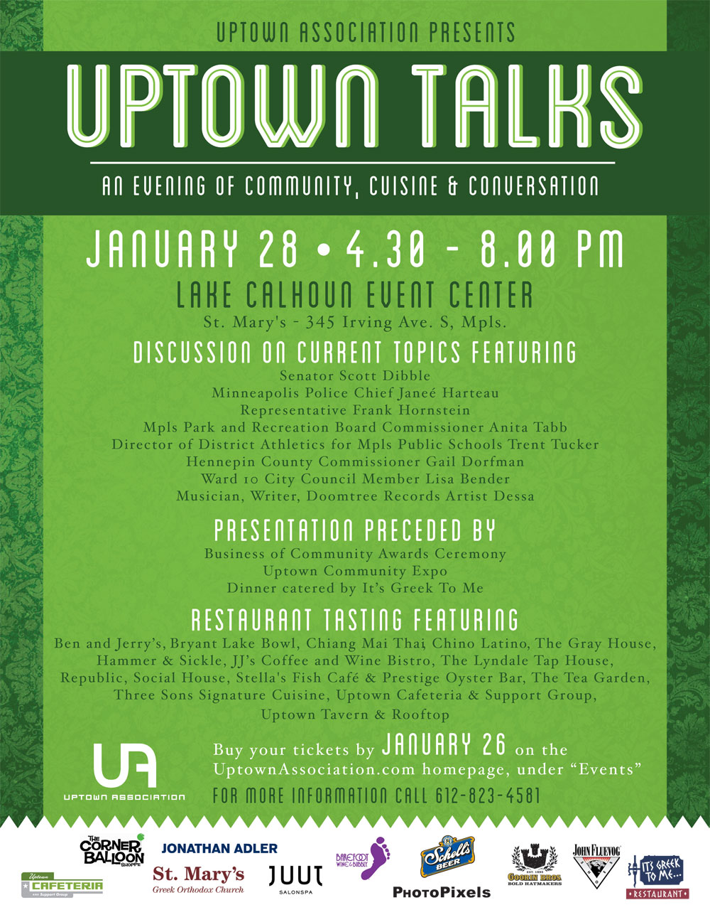 Uptown Association - Uptown Talks-  Tues. January 28 4:30-8:00pm