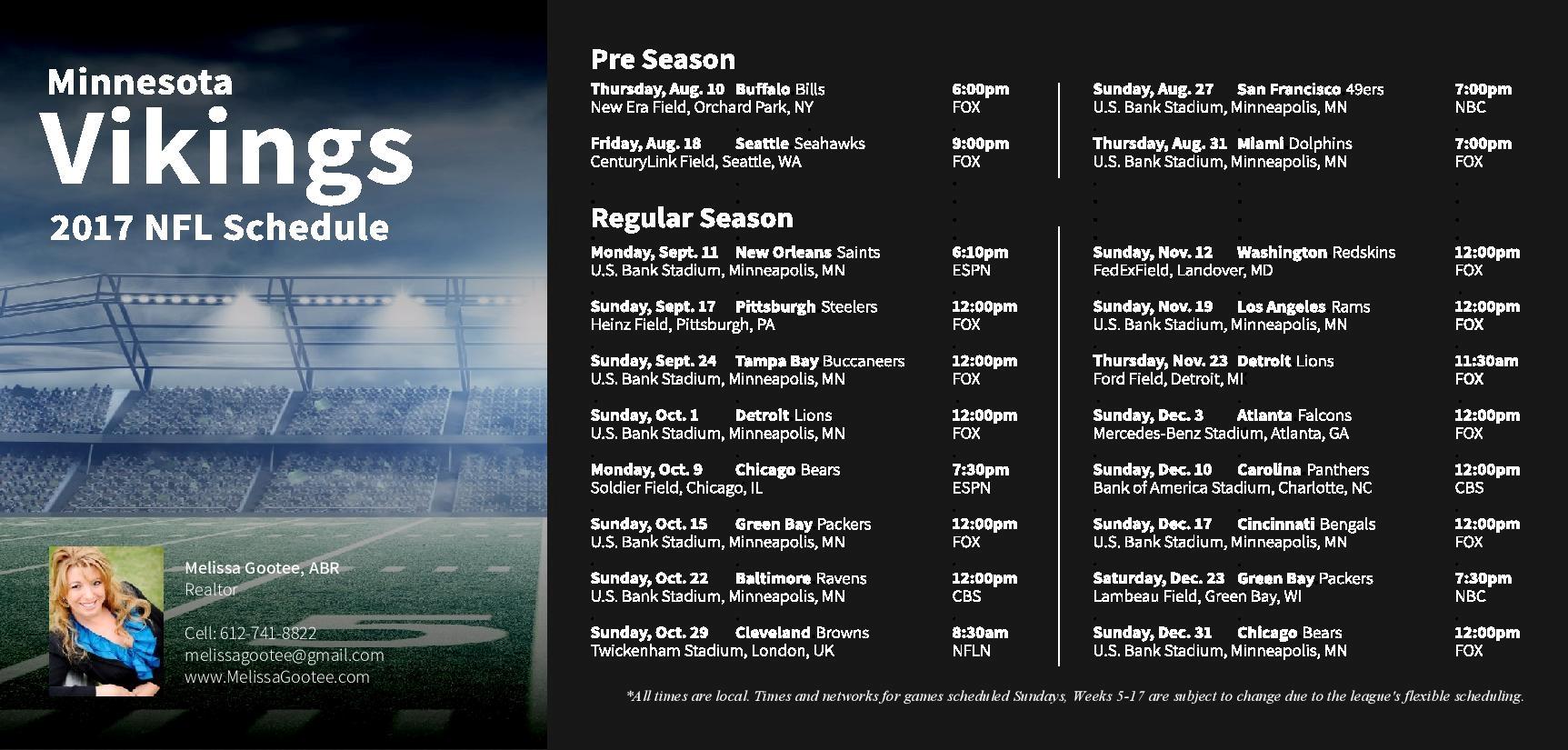 Your Minnesota Vikings 2017 Schedule