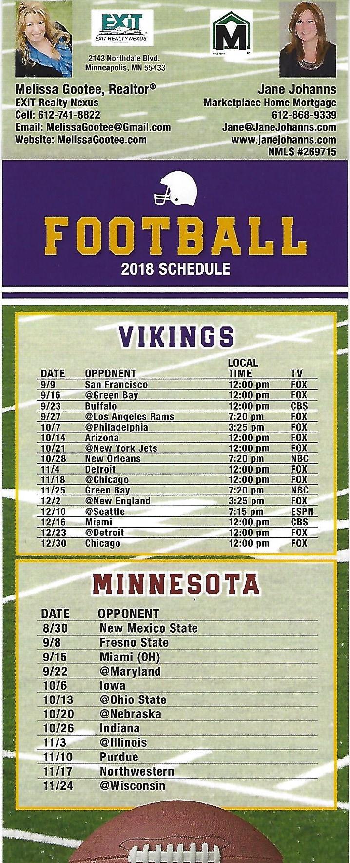Vikings Schedule 2020.Vikings Football Schedule 2019 2019 Football Schedule 2019