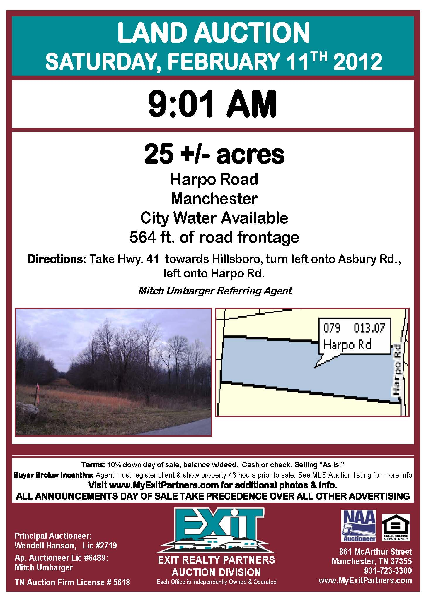 25+/- ACRES LAND AUCTION! 9:01 Saturday Feb 11