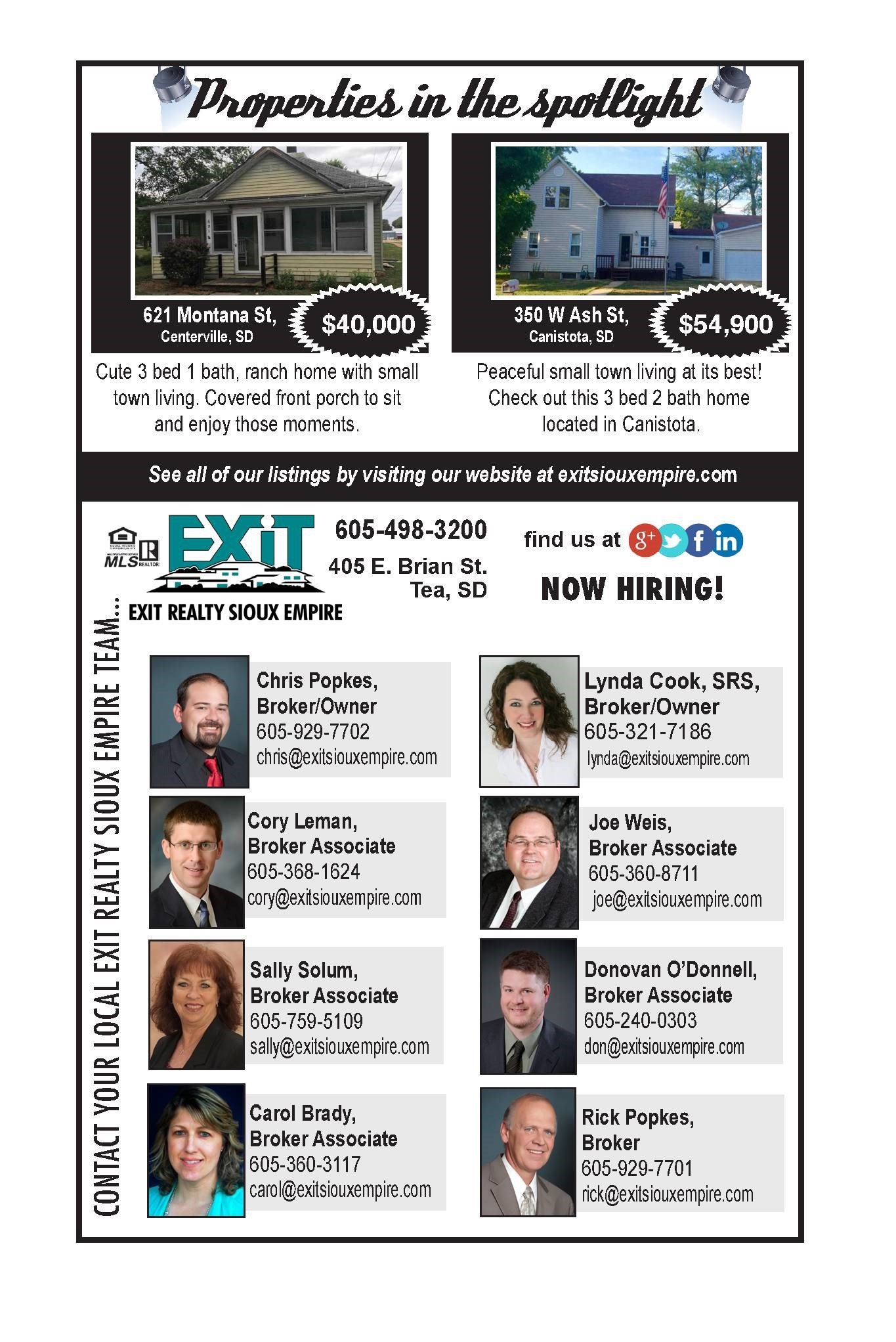 Sept. 29, 2016 EXIT Realty Sioux Empire's Newspaper ad!