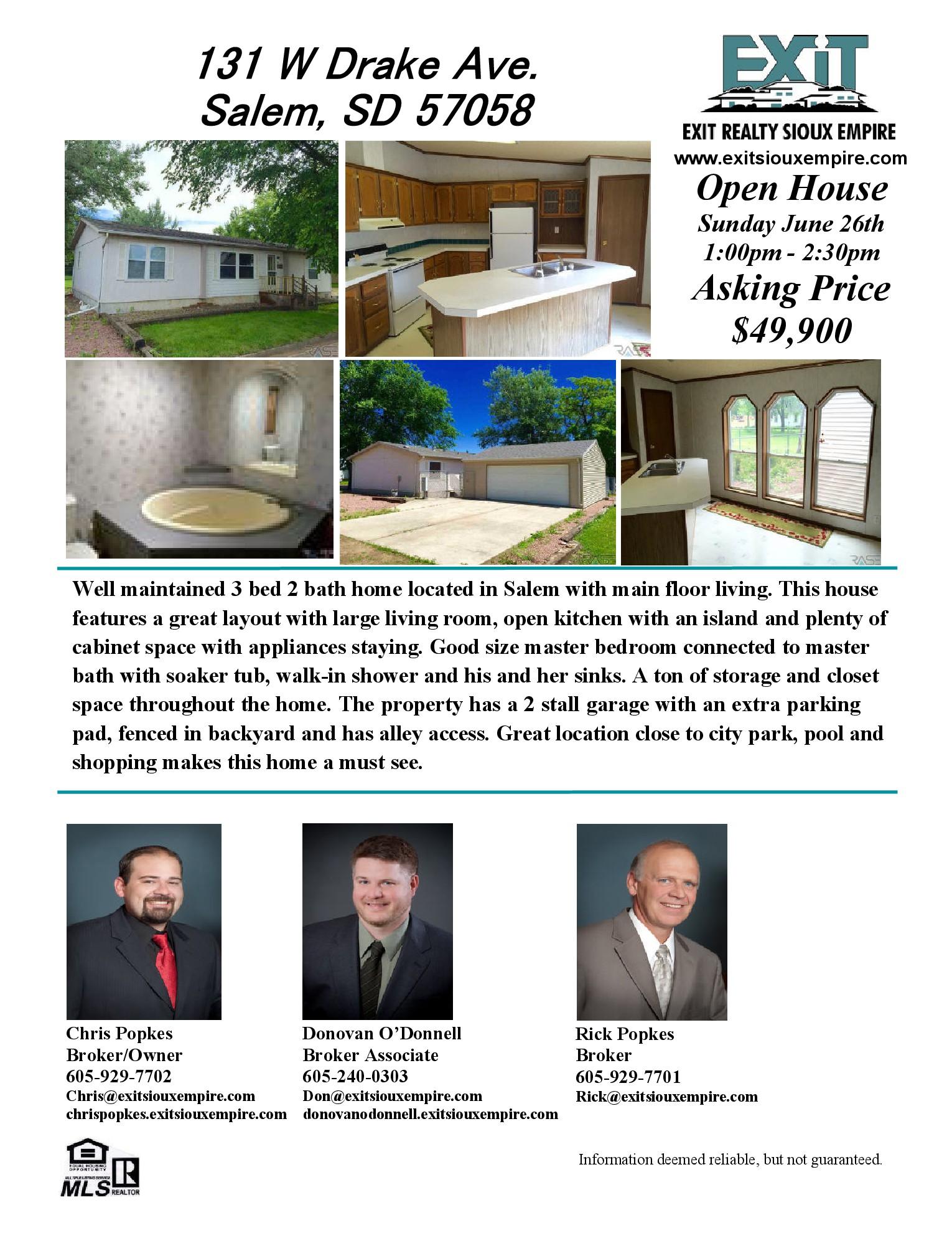 Open House Sunday June 26, 2016! 131 W Drake Ave. Salem, SD 57058