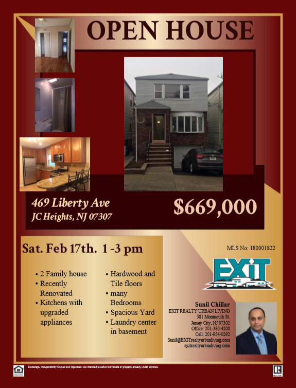 OPEN HOUSE!!! 469 Liberty Ave, JC Heights, Sat. Feb. 17th  1-3pm