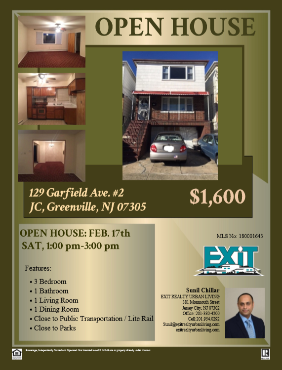 Open House!!! Feb.17th Sat. 1:00pm - 3:00pm Jersey City